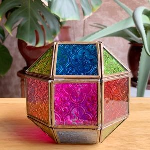 Octagon Shape Boho Chic Stain Glass Candle holder